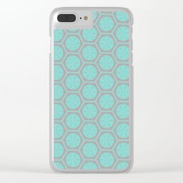 Hexagonal Dreams - Grey & Turquoise Clear iPhone Case