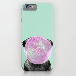 Bubble Gum Popped on Black Pug (2 in series of 3) iPhone Case