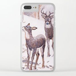 Deer in December Clear iPhone Case