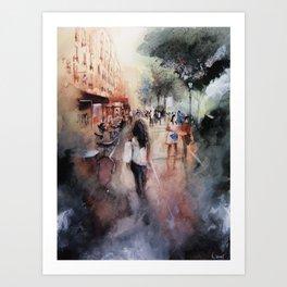 Promenade rue Saint-Martin - Paris painting Art Print
