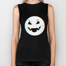 Psychedelic Pumpkin Trick or Treat Neon Cool Retro Simple Halloween Costume Idea Psy Trance Music Biker Tank