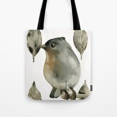 Grey Birdy Tote Bag