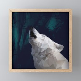 Low-Poly Wolf Howling Framed Mini Art Print