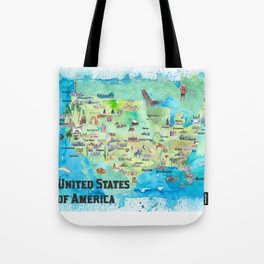 USA Continental States Travel Poster Map With Highlights And Favorites Tote Bag