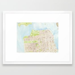 San Francisco CA City Map  Framed Art Print