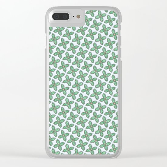 Mint Leaf Pattern Clear iPhone Case