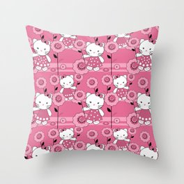 A small kitten . Throw Pillow