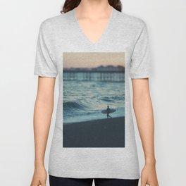 the lone surfer ... Unisex V-Neck