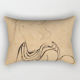Hokusai, a woman combs her hair -manga, japan,hokusai,japanese,北斎,ミュージシャン Rectangular Pillow