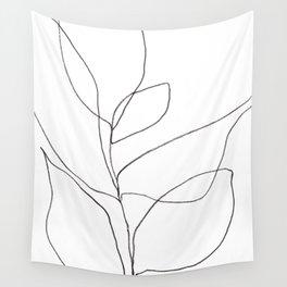 Minimalist Line Art Plant Drawing Wall Tapestry