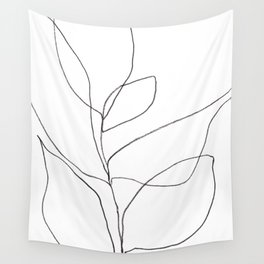 Minimalist Line Art Plant Drawing Wall Tapestry
