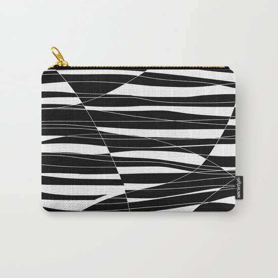 Carved Black and White Wave Carry-All Pouch