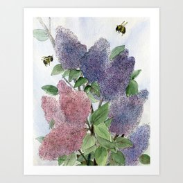 Lilacs and Bees Watercolor Painting Art Print