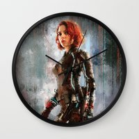 black widow Wall Clocks featuring Black Widow by Wisesnail