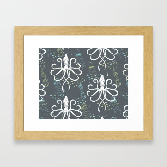 Ghostly Squid Damask Framed Art Print