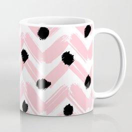 Stripes x Dots pattern / Pink Coffee Mug