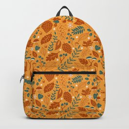 Fall Foliage in Yellow, Terracotta, and Blue Backpack