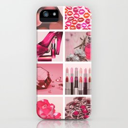 Pink & Girly Fashion Collage iPhone Case