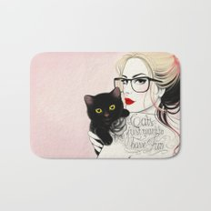 Cats just want to have fun! Bath Mat