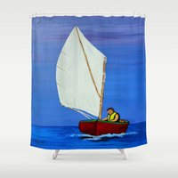 sailboat Shower Curtains featuring Little sailboat by maggs326