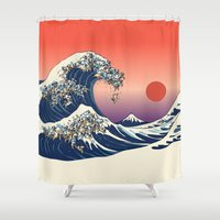 huebucket Shower Curtains featuring The Great Wave of Pug   by Huebucket