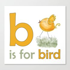 b is for bird,  children alphabet for kids room and nursery Canvas Print