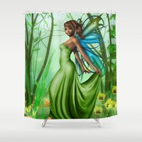 emerald Shower Curtains featuring Emerald by Fairytale Art