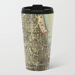 Chicago Colorful Map, vintage map year 1929 Travel Mug