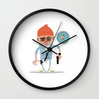 steve zissou Wall Clocks featuring Zissou by The Drawbridge
