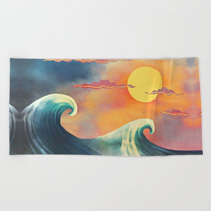 blue & red Beach Towel