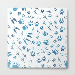 Blue traces of animals in the snow Metal Print