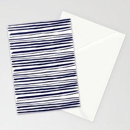 Blue- White- Stripe - Stripes - Marine - Maritime - Navy - Sea -Beach - Summer - Sailor 3 Stationery Cards