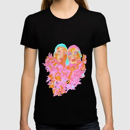 Pink Ladies blue hair pink boa gemini twins T-shirt