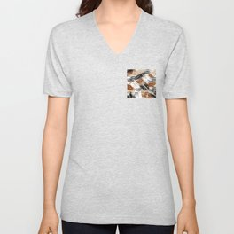 earth abstract painting in brown grey black and white Unisex V-Neck