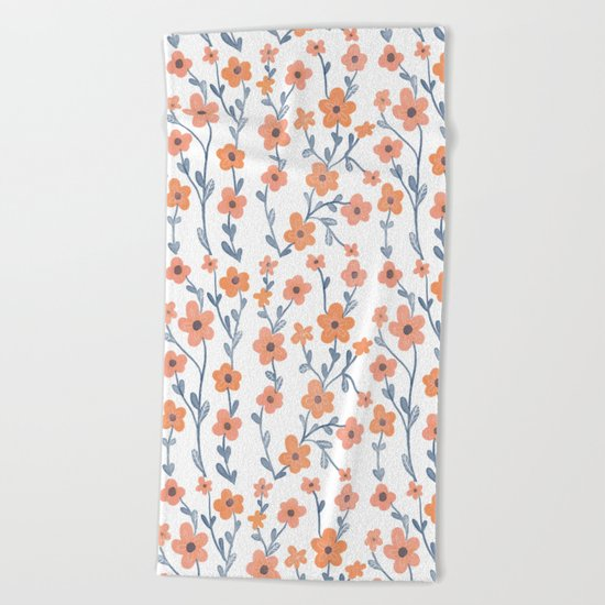 Orange Blue Foral Pattern Beach Towel