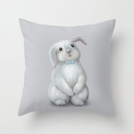 White Rabbit Boy Throw Pillow
