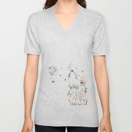 Wolf howling on moon sketch Unisex V-Neck