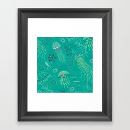 Into the Deep Jellies - Teal Framed Art Print