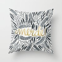 french Throw Pillows featuring Pardon My French – Black & Gold by Cat Coquillette