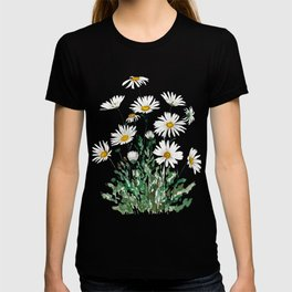 white Margaret daisy watercolor T-shirt