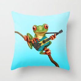 Tree Frog Playing Acoustic Guitar with Flag of Bahamas Throw Pillow