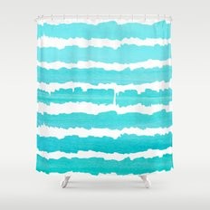 Maritime pattern- aqua handpainted stripes on clear white- horizontal Shower Curtain