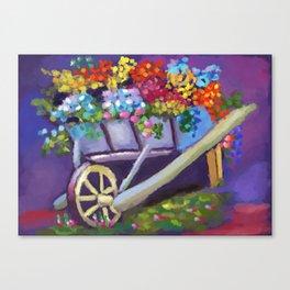 Flowers in Wheelbarrow Canvas Print