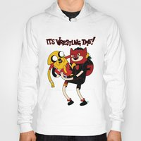 wrestling Hoodies featuring It's Wrestling Time!  by Rad Recorder