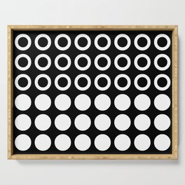 Mid Century Modern Circles And Dots Black & White Serving Tray