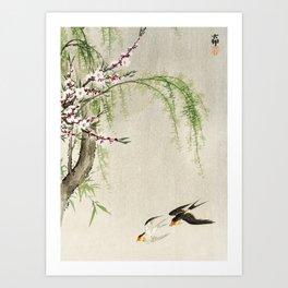 Swallows mid flight - Vintage Japanese Woodblock Print Art Art Print