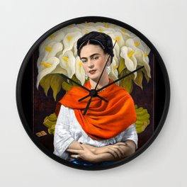 FERIDA KAHLO REBOZO NARANJA Wall Clock