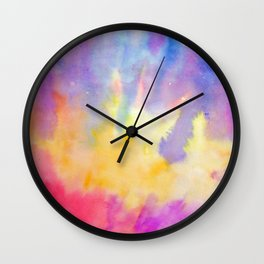 Watercolor Abstract Landscape Yellow Red and Blue Wall Clock