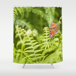 The red butterfly and the forest Shower Curtain