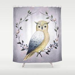 A Long Eared Owl On A Laurel Shower Curtain